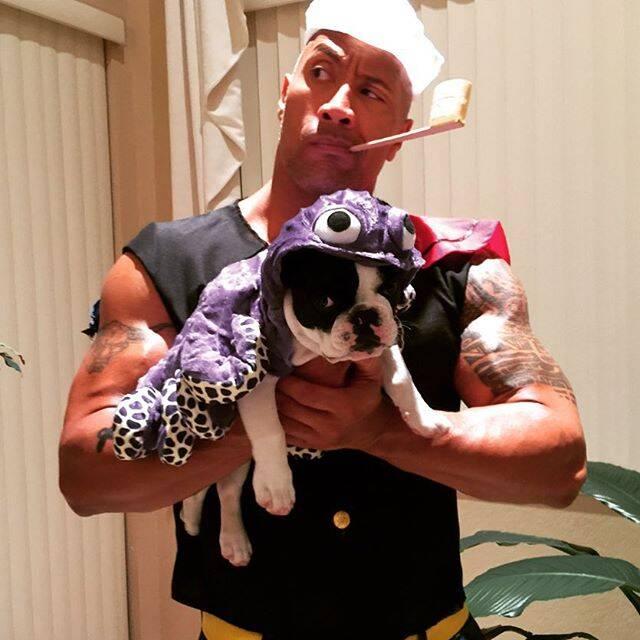 Dwayne Jonhson e seu cão, Hobbs - Foto @therock