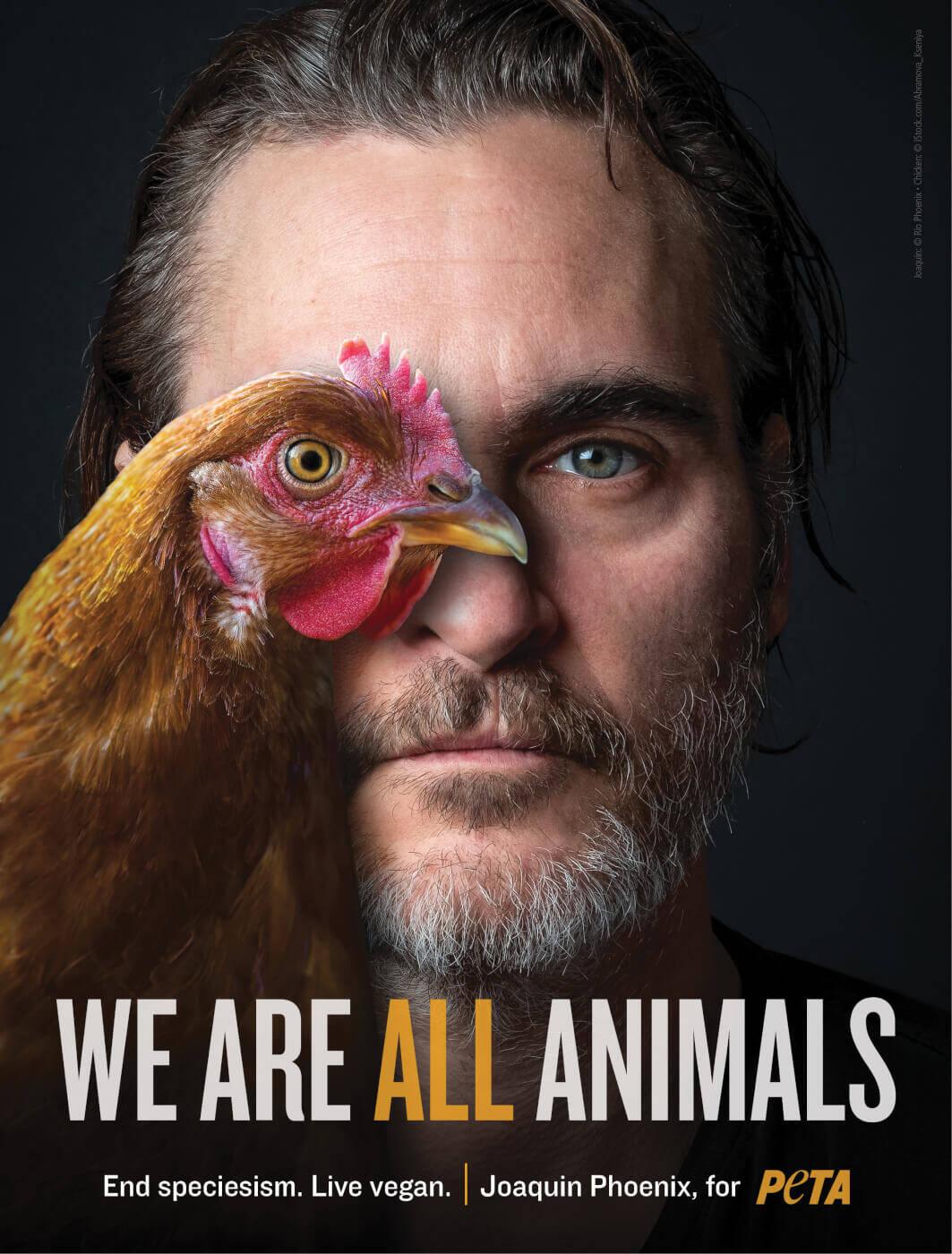 Joaquin Phoenix em campanha a favor dos animais - Foto Peta