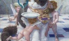 Artista japonês transforma gatos em reis em pinturas
