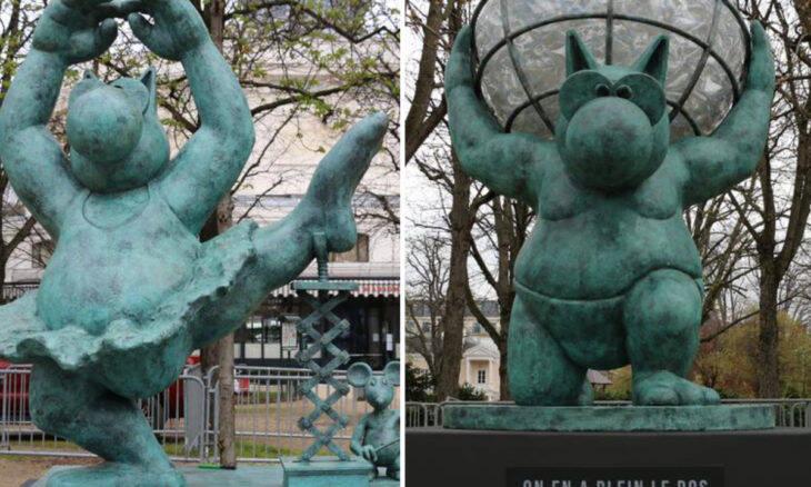 Gatos viram esculturas e se espalham por Paris