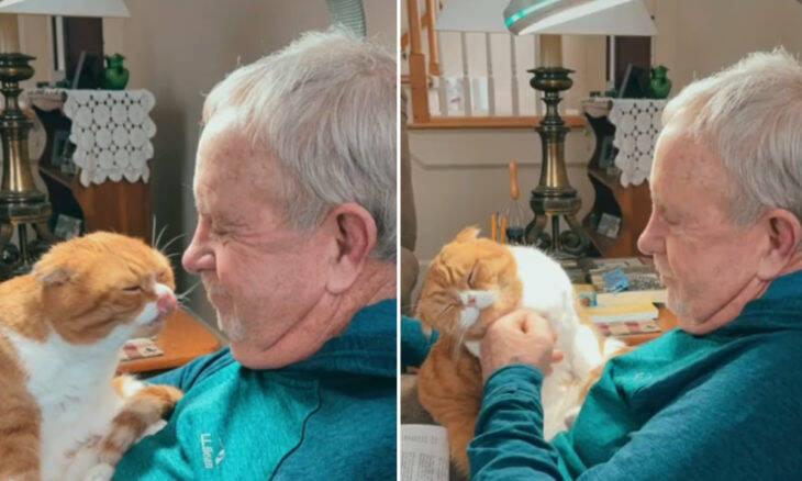 Gato se recusa a sair de perto do seu 'avô', que luta contra um câncer