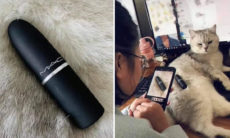 Donos viralizam nas redes ao usar seus gatos como fundo para fotos de objetos