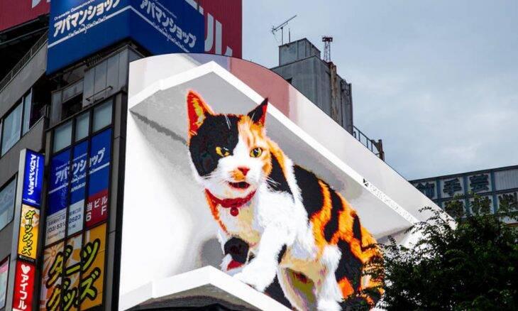 Vídeo: gato gigante e hiper-realista 'aterroriza' bairro de Tóquio