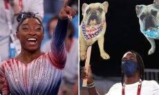 Cães de Simone Biles 'aparecem' na Olimpíada para acalmar a dona