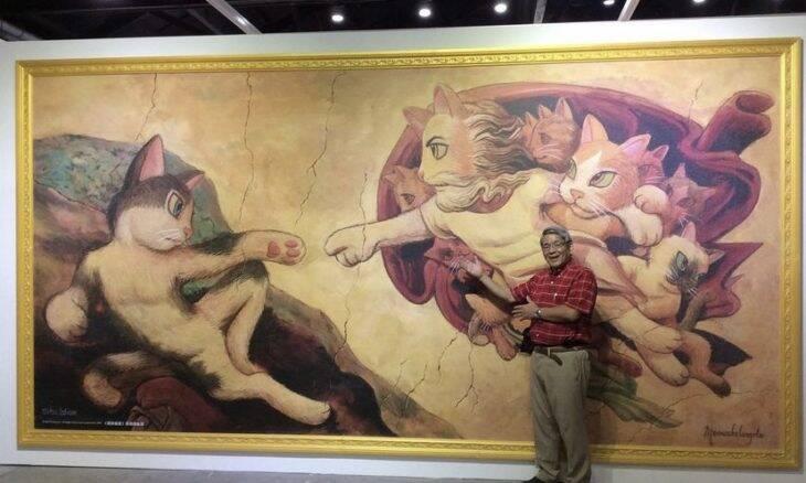 Exposição transforma gatos em obras-primas das artes plásticas
